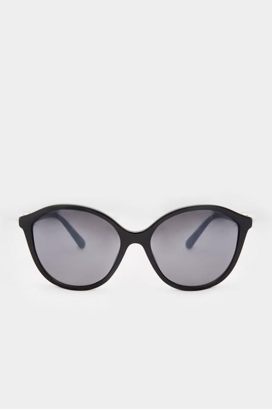 Black Rounded Cat-Eye Sunglasses