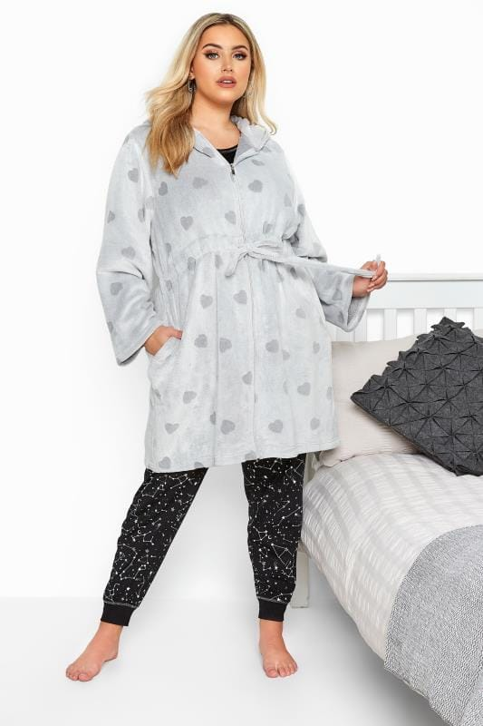 Plus Size Dressing Gowns Grey Heart Print Zip Dressing Gown