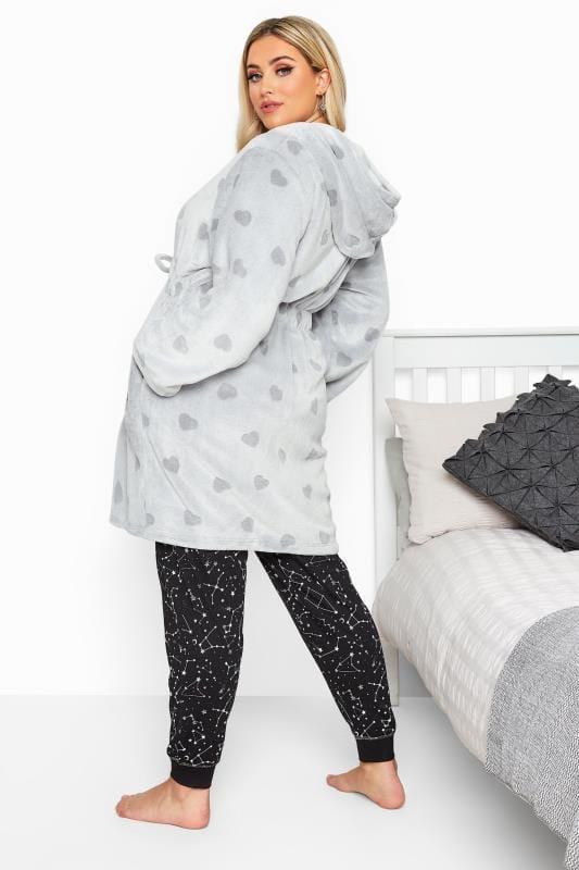 Grey Heart Print Zip Dressing Gown