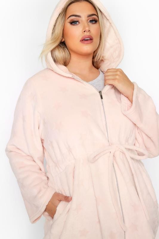 Pink Star Print Zip Dressing Gown_56b7.jpg