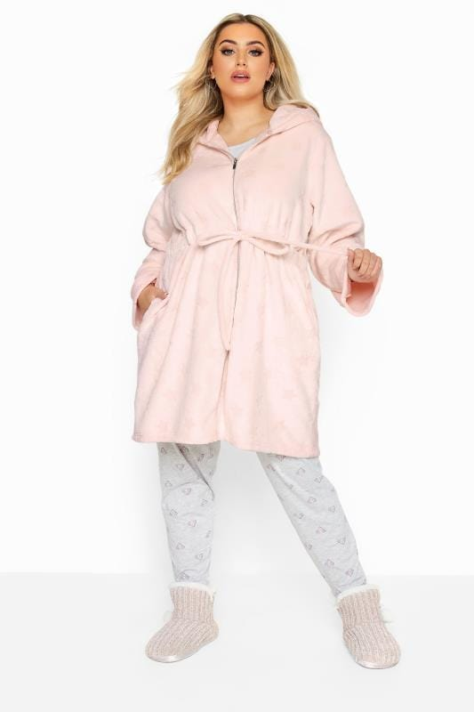 Dressing Gowns Grande Taille Pink Star Print Zip Dressing Gown