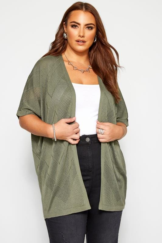 Plus Size Cardigans Khaki Green Pointelle Cocoon Cardigan