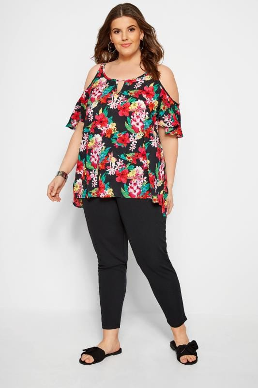 Black & Multi Woven Floral Cold Shoulder Top