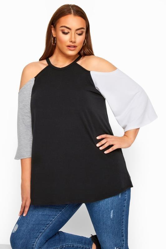 Plus Size Cold Shoulder Tops & Bardot Tops LIMITED COLLECTION Black Cold Shoulder Jersey Top