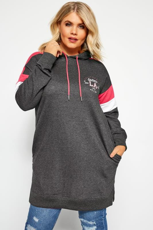 Plus Size Sweatshirts Charcoal Grey Colour Block Longline Hoodie
