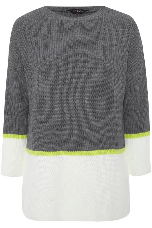 Grey & Cream Colour Block Jumper