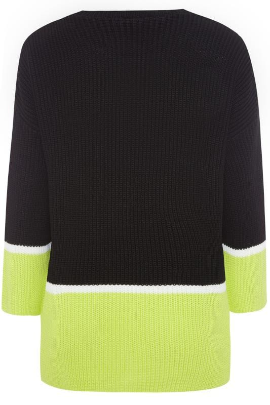 Black & Neon Green Colour Block Jumper
