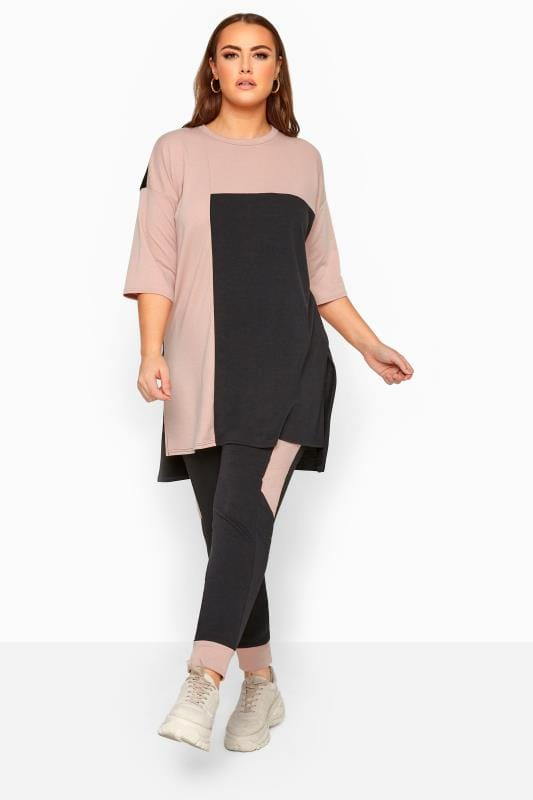 Plus Size Loungewear LIMITED COLLECTION Black & Blush Pink Colour Block Lounge Joggers