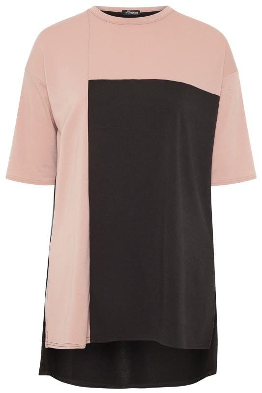 LIMITED COLLECTION Black & Blush Pink Colour Block Lounge Top