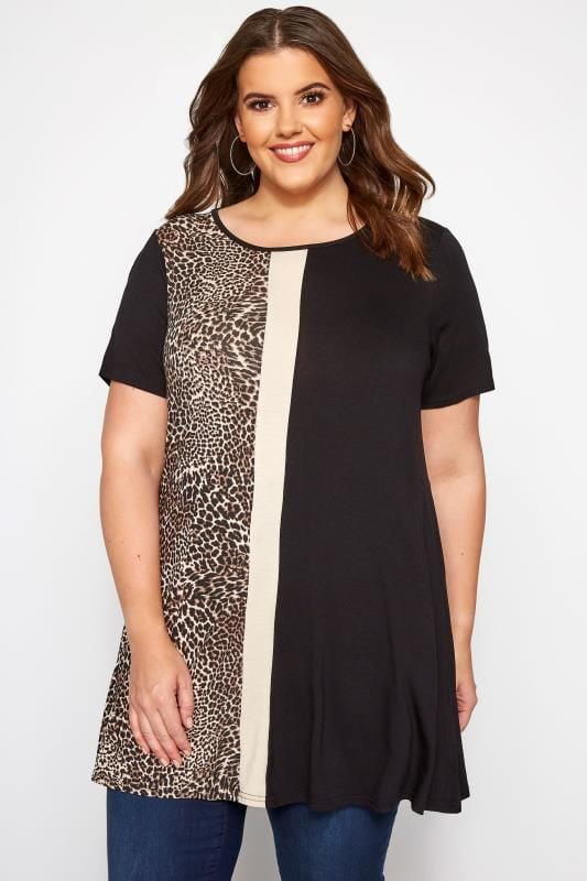 Plus Size Smart Jersey Tops Black Animal Print Block Jersey Swing Top