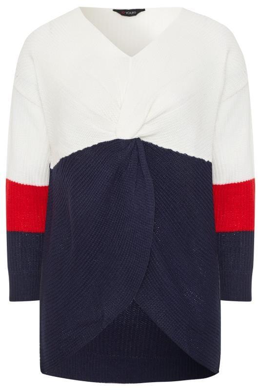 Pullover mit Knotenfront - Dunkelblau/Weiß