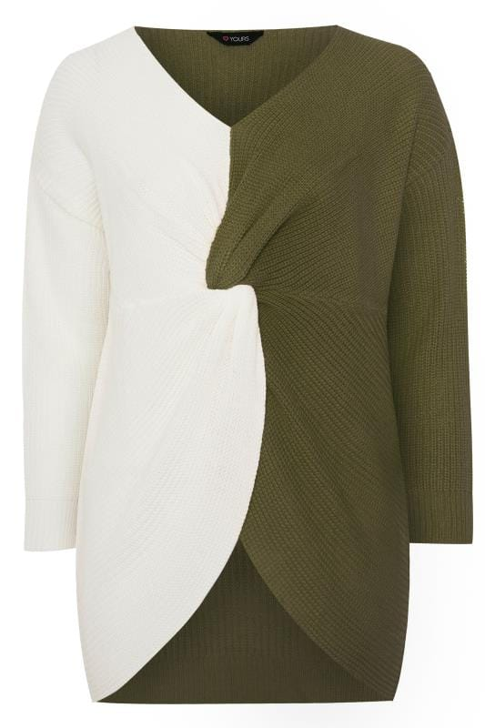 Khaki Green & White Twist Front Jumper