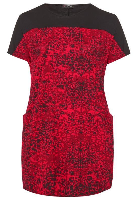 Tuniki dla puszystych Black & Red Animal Drape Pocket Tunic