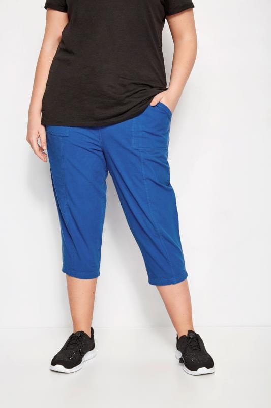 Cobalt Blue Cotton Cropped Trousers
