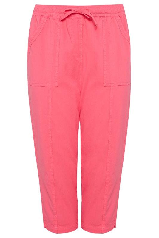 Coral Cotton Cropped Trousers