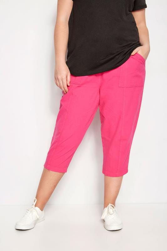 Plus Size Cropped Pants Fuchsia Cotton Cropped Trousers