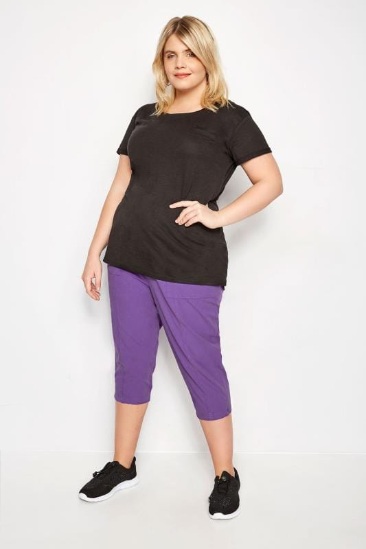 Purple Cotton Cropped Trousers
