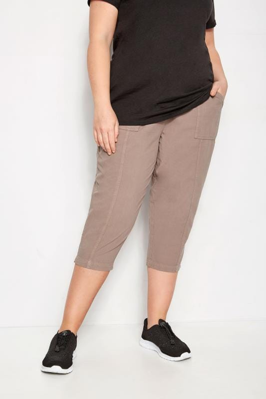 Plus Size Capri Pants Brown Cotton Cropped Trousers