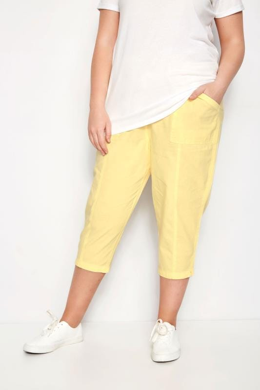 Plus Size Cropped Pants Pastel Yellow Cotton Cropped Trousers