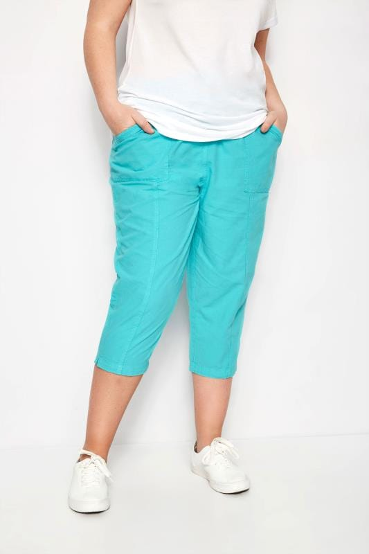 Plus Size Cropped Pants Turquoise Cropped Cotton Trousers