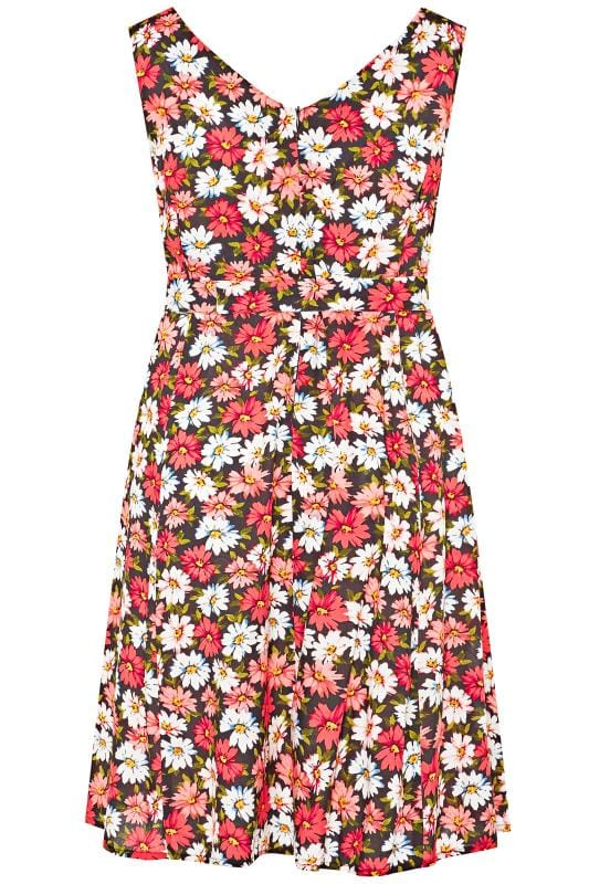 Black & Coral Pink Daisy Print Skater Dress