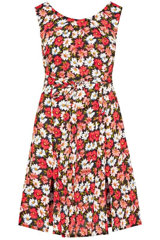 Casual Dresses Black & Coral Pink Daisy Print Skater Dress