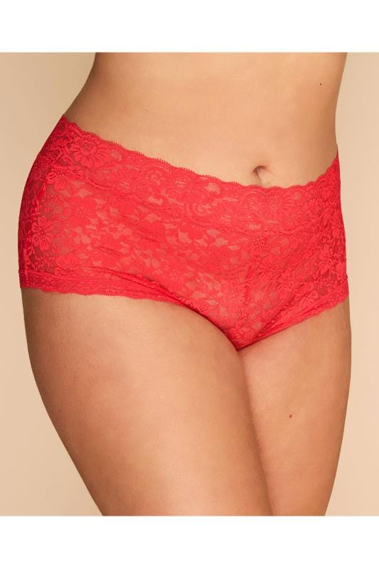 Plus Size Briefs & Knickers Grande Taille Coral Floral Lace Shorts