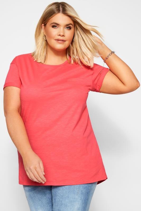 Day Tops Tallas Grandes Coral Pink Mock Pocket T-Shirt