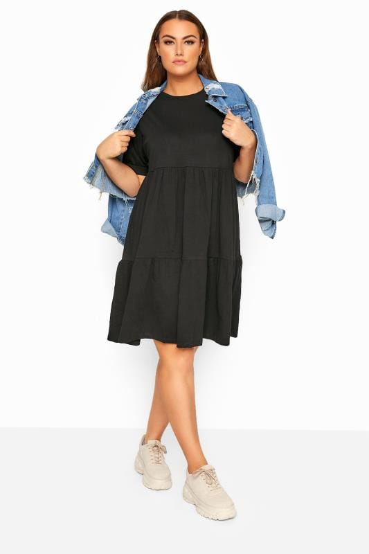 LIMITED COLLECTION Black Tiered Cotton Smock Dress_69c0.jpg