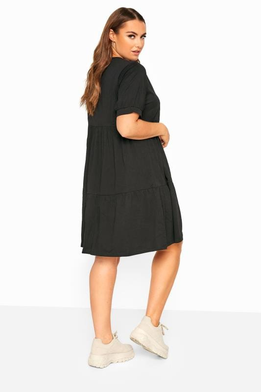 LIMITED COLLECTION Black Tiered Cotton Smock Dress