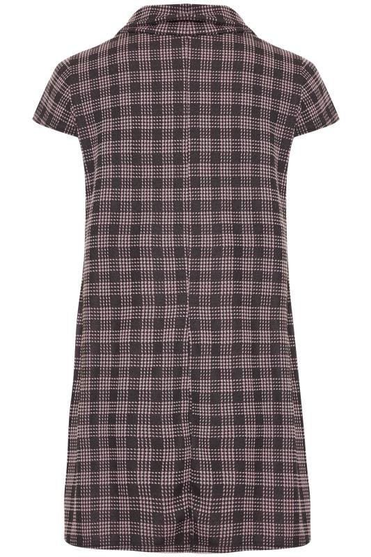 Pink Check Cowl Neck Tunic Dress