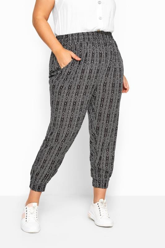 Black Tribal Stripe Crinkle Harem Trousers