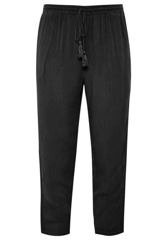 Black Crinkle Embroidered Tapered Trousers