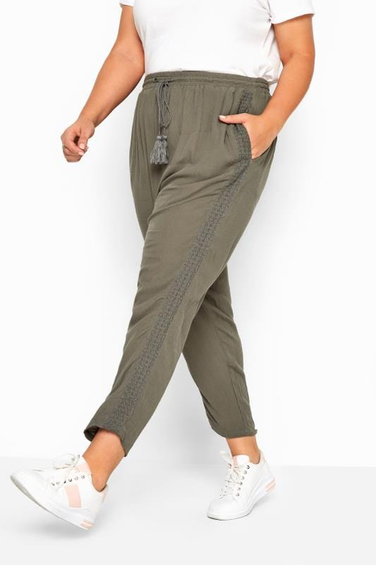 Plus Size Beauty Khaki Crinkle Embroidered Tapered Trousers