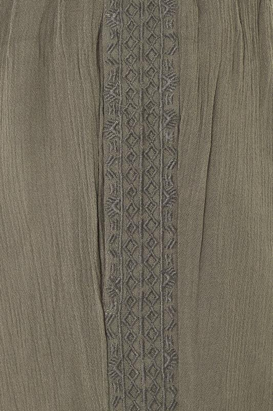 Khaki Crinkle Embroidered Tapered Trousers