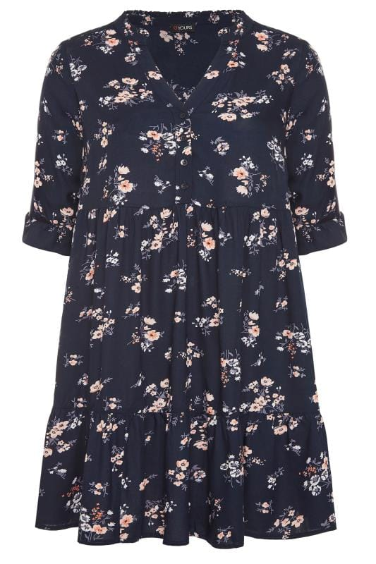 Navy Floral Tiered Smock Dress