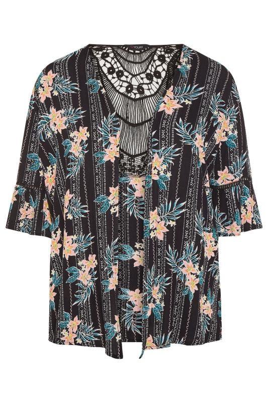 Black Floral Aztec Crochet Cover Up