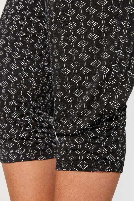 Black Aztec Print Cropped Trousers