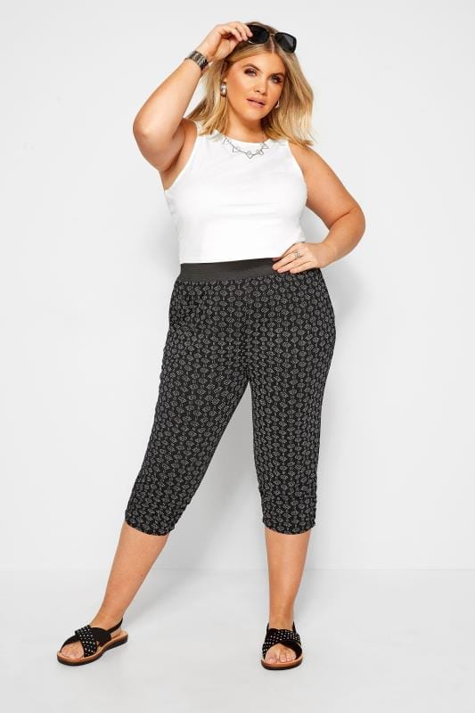 Plus Size Cropped Trousers Black Aztec Print Cropped Trousers