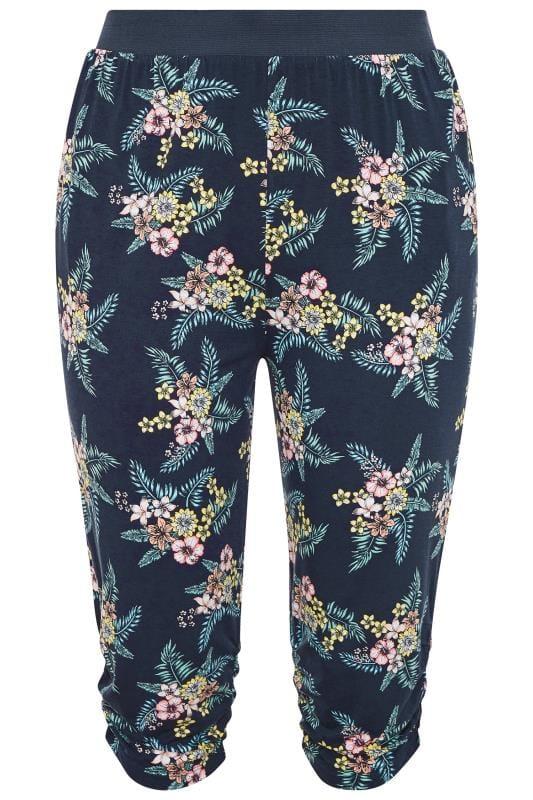 Plus Size Cropped Trousers Navy Floral Cropped Harem Trousers
