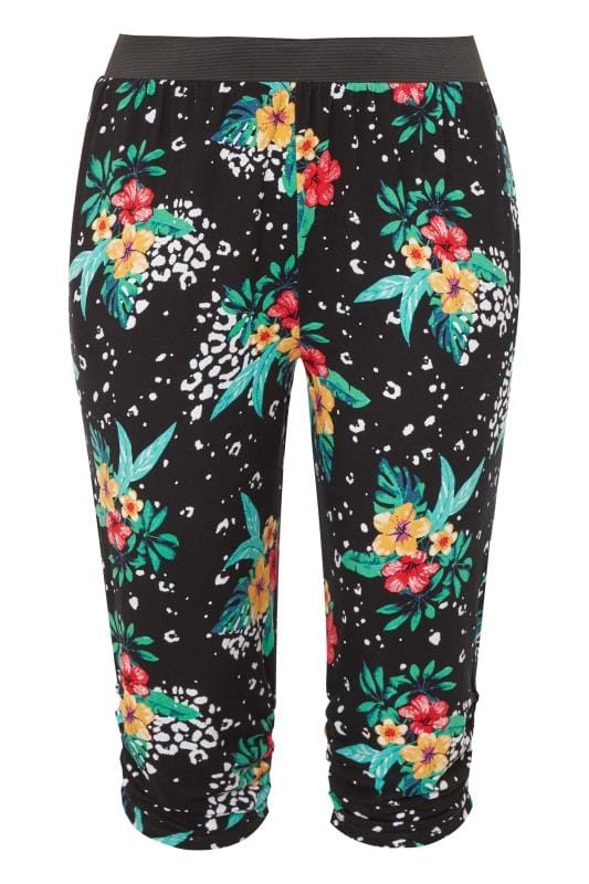 Black Tropical Animal Cropped Harem Trousers