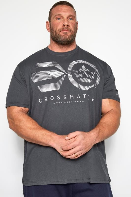 Plus Size T-Shirts CROSSHATCH Charcoal Grey Graphic Logo Print T-Shirt