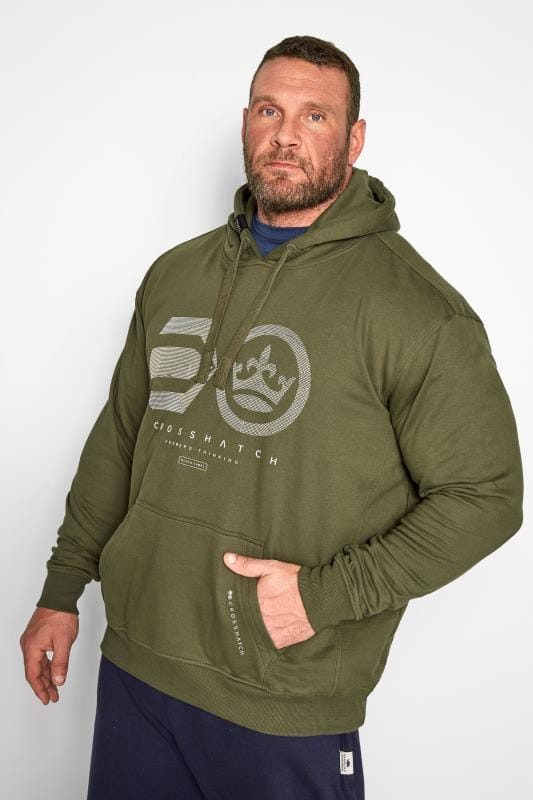 Plus Size Hoodies CROSSHATCH Green Graphic Hoodie