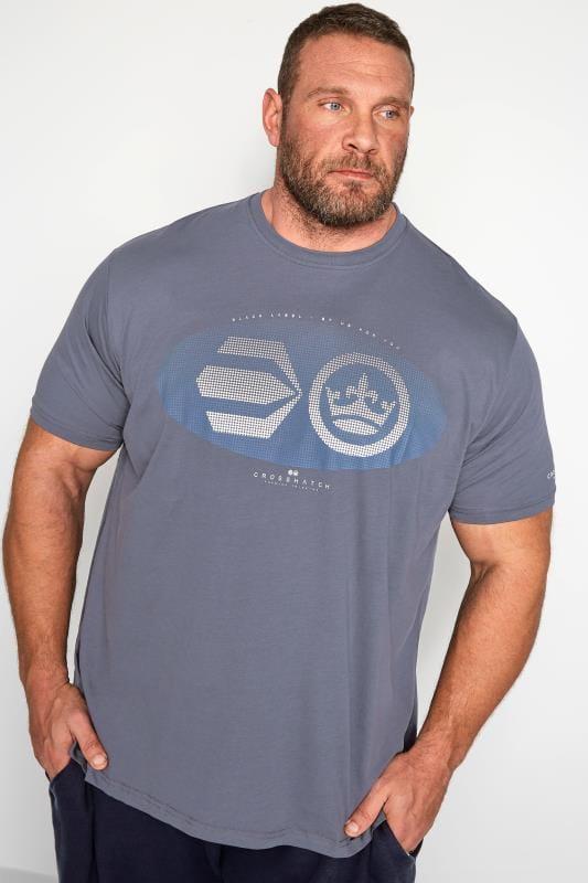 CROSSHATCH Grey Textured Graphic Print T-Shirt