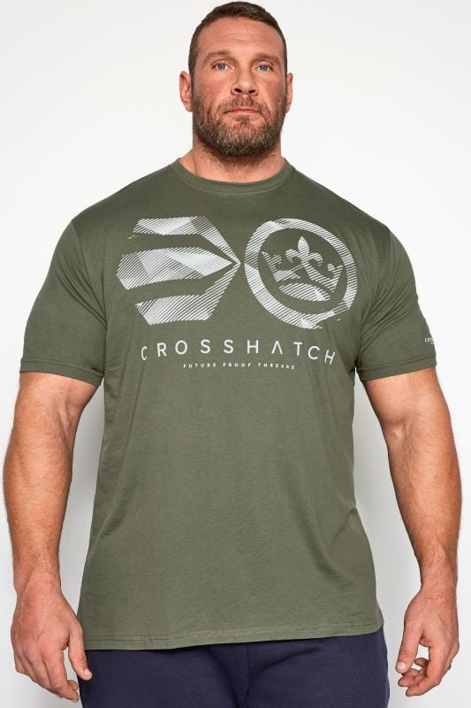 T-Shirts CROSSHATCH Khaki Green Graphic Logo Print T-Shirt 201555