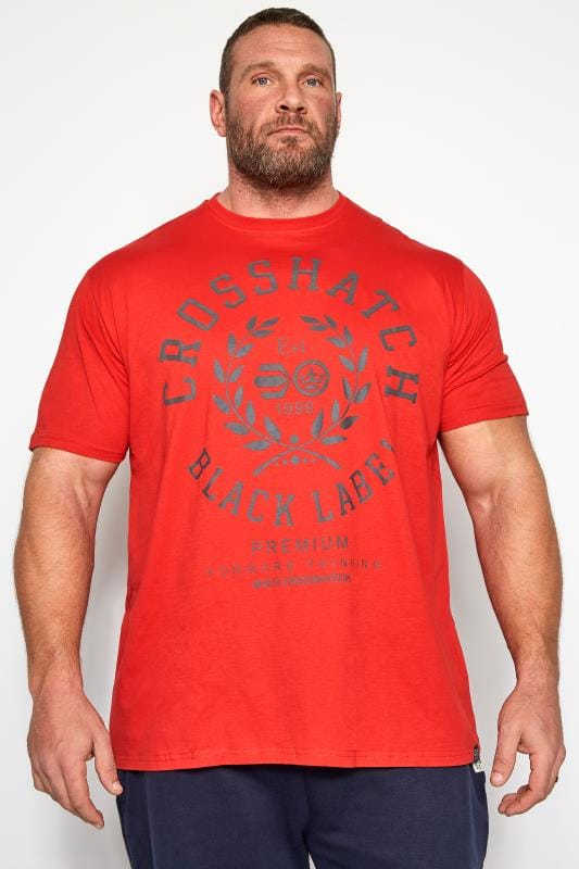 Plus Size T-Shirts CROSSHATCH Red Printed T-Shirt