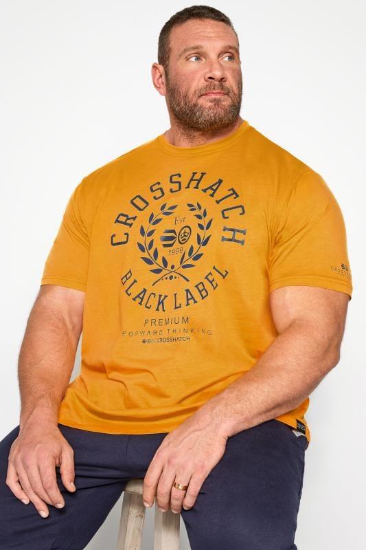 Plus Size T-Shirts CROSSHATCH Yellow Printed T-Shirt