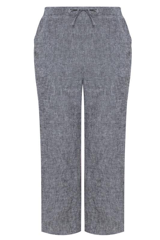 Blue Crosshatch Linen Wide Leg Trousers