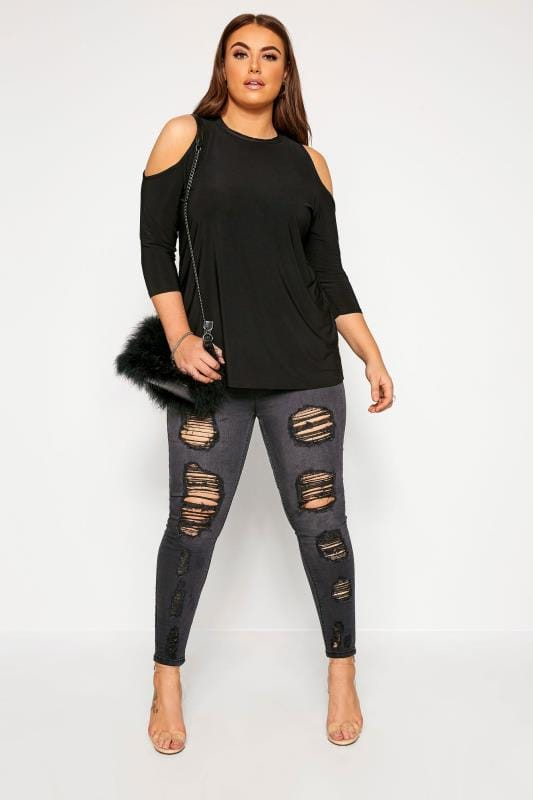 Большие размеры | Jersey Tops LIMITED COLLECTION Black Cold Shoulder Top