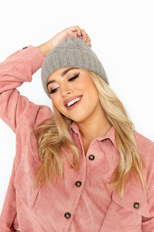 Plus Size Hats Grey Cable Knit Beanie